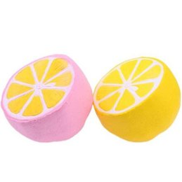 Wholesale Squishy Lemon Jumbo kawaii charm Big Simulation Fruit PU Slow Rising Squishies Scented Stress Relief Toy Charms cell phone cases Kids Gift