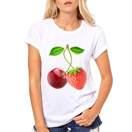 Strawberry Tees Canada - Woman 2018 Summer Top White Short Sleeve O-neck T-shirt Cherry and strawberry together Tees Womens Funny T-Shirt