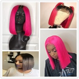 two toned indian glueless wig NZ - Ombre BOB Full Lace Short Human Hair Wigs Cheap Two Tone Indian Virgin Hair Glueless Lace Front Wigs T1b Pink Red Grey Color