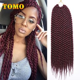 Discount burgundy purple hair extensions - TOMO Senegalese Twist Crochet Braids Pure Ombre Braiding Hair Extensions Ombre Kanekalon Synthetic Braids For Black Whit