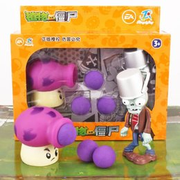 Wholesale Plants vs Zombies Toys Big Mushrooms Iron Buckets Zombies Hand Set Gift Boxes Can Launch Dolls