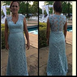 Vintage Light Sky Blue Lace Mother Of The Bride Dresses Formal Women Wear Evening Wedding Party Guests Plus Size