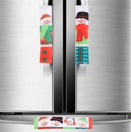 L handLes online shopping - New Festive Set Snowman Kitchen Appliance Handle Covers Christmas Decor Kitchen Tools Microwave Door Refrigerator Handle Sets