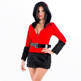 $enCountryForm.capitalKeyWord Australia - Red Fur Velvet Santa Claus Costume Hot Plush Full Sleeve Sexy Hoodies Xmas Fancy Dress Christmas Theme Outfit