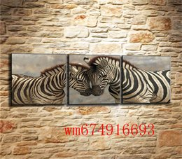 Discount classical couple paintings - Animal Couples Zebra , 3PC Pieces Home Decor HD Printed Modern Art Painting on Canvas (Unframed Framed)