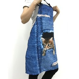 $enCountryForm.capitalKeyWord Australia - Sanitary Forudesigns Cute 3d Denim Cat Apron For Women Men Funny Blue Denim Dog Kitchen Sleeveless Apron Home Cleaning Cooking Bbq Aprons