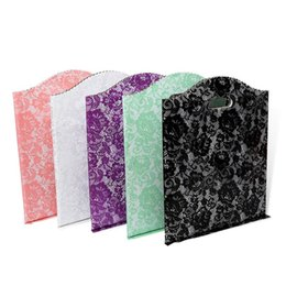 Chinese  50pcs Black Lace Packet Cosmetics Clothing Pouch Pink Rose Print Handbag Fashion Purple Gift Shopping Bag manufacturers