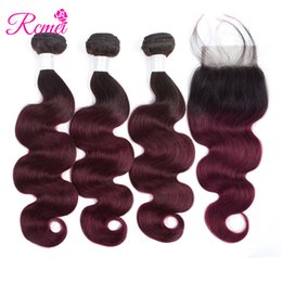 parting closure ombre Australia - Rcmei Hair Ombre Brazilian Body Wave 3 Bundles With Closure Ombre Human Hair Bundles With Free Part Lace Closure 1B 99J