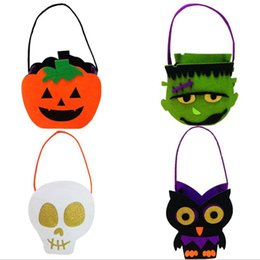 $enCountryForm.capitalKeyWord NZ - Children Halloween Felt Cloth Skull Pumpkin Owl Zombie Candy Bags Kids Party Non-woven Fabric Gift Bags Party Decorations