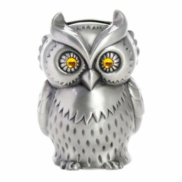 Wholesale save animals online – design Vintage Metal Owl Piggy Bank Animal Zinc Alloy Coin Bank Cafe Bar Shop Crafts Home Decoration Money Saving Box Pewter Finish
