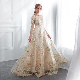 $enCountryForm.capitalKeyWord NZ - 2019 Fairy Lace Appliques Prom Dresses Sheer Jewel Neck See Though Long Sleeve Formal Evening Occasion Dresses Custom Made Hot Sale