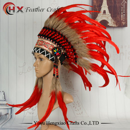 704597a803 high red Indian feather Headdress indian war bonnet costumes hade made costume  native american costume