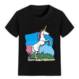 China NEW ARRIVAL Children Cartoon T Shirt Jumping Unicorn Printed Boy Kid Clothes Short Sleeve Girl Tee Shirt Kid Summer U2366 cheap jumping clothing suppliers