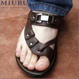 Male Leather Sandals Canada - MIUBU Sandalias Femininas Sale Promotion Covered Toe Sandalias Male Sandals Summer Casual Leather Genuine flip-flop