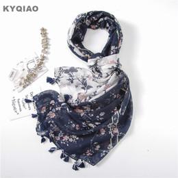 $enCountryForm.capitalKeyWord UK - KYQIAO Vintage head scarf for women mori girls autumn spring Japanese style fresh long dark blue white print patchwork scarves