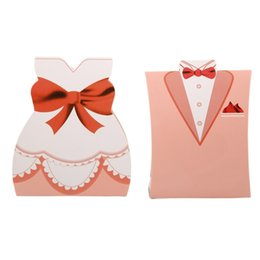 $enCountryForm.capitalKeyWord NZ - 50 Set Wedding Favor Candy Boxes Bridal Groom Dress Tuxedo Party Gift Paper Candy Box Gift Bag Birthday Party Christmas Suppl