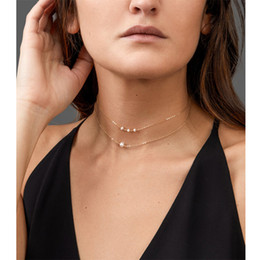 Artificial Chains Wholesalers Australia - Simple Delicate Gold Layered Chokers for Women Handmade Chain Necklace With Artificial Pearl cheap wholesale drop shipping