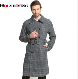 6xl trench coat men Australia - Holyrising Spring and autumn trench coat men Plais double-breastedlong coat slim fit classic trenchcoat S-6XL size #18015