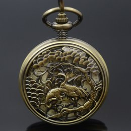 self winding pocket watch Canada - Crane Carving Pocket Watch Bronze Women Mechanical Men Retro Skeleton Chain Self Wind Roman Numerals Watch Christmas Gift