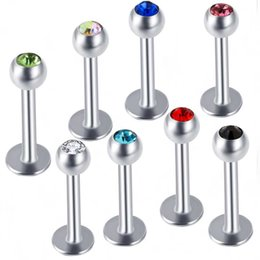 $enCountryForm.capitalKeyWord NZ - Charisma 316L Surgical Steel Ball Crystal Bar Lip Ring Labret Stud Tongue Lip Tragus Mix 10 Colors 100pcs Body Piercing Jewelry