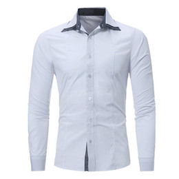 Male Clothing Styles Canada - Double Collar Men Shirt Business Casual Style Fashion Blouse Dinner Party Gentleman Clothes Spring Wear Warm Male Cotton Tops