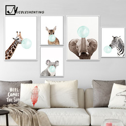 zebra print canvas wall art 2019 - NICOLESHENTING Baby Animal Zebra Girafe Canvas Poster Nursery Wall Art Print Painting Nordic Picture Children Bedroom De