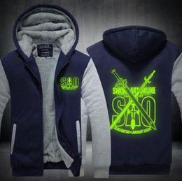 0c17c9da9 Anime Sword Art Online Hoodie Luminous Kirigaya Kazuto Thicken fleece jacket  Hooded Super Warm Coat USA EU Size Plus Size