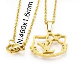 d89de03b4 Wholesale Lovely Hello Kitty Pendant Necklace Hollow Letters llv Clavicle  Chain 14K Gold Necklace For Women Girl Fashion Jewelry Acccessory