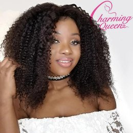 Kinky Curly Human Hair Afro Wigs Australia - Charming Queen Full Lace Human Hair Wigs For Black Women Afro Kinky Curly Glueless Brazilian Remy Hair Lace Wigs With Baby Hair