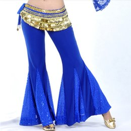 $enCountryForm.capitalKeyWord NZ - 9 Colors Professional Belly Dance Clothes Cotton Sequin Flared belly dance Pants Yoga practice pants Long Pants
