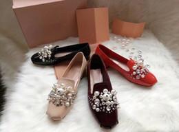Girls Wedding Flat Shoes Canada - Women Summer New Fashion Round Toes Rhinestone Single Shoes Girls Sezy Flat Slip On Wedding Shoes Girls Pearl Shallow Mouth Single Shoes