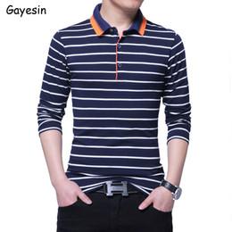 $enCountryForm.capitalKeyWord NZ - Men Tee Stripe Pattern T shir Long Sleeves Turn Down Collar Polo Shirt Homme Cotton Casual T-Shirt Fashion Mens Tops Collection