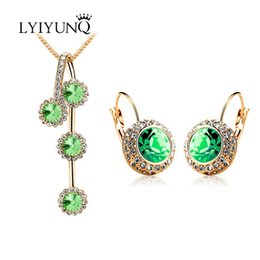 longest earrings NZ - LYIYUNQ Trendy Round Crystal Long Earrings Pendant Necklace Jewelry Set Punk Rhinestone Wedding Jewelry Sets For Women