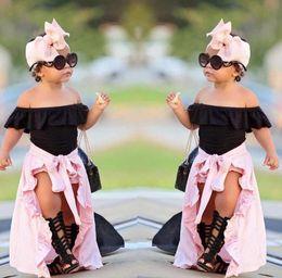 Meninas Conjuntos de Roupas de Verão 4 pcs Crianças Do Bebê Meninas Fora Do Ombro Top T-shirt shorts Saia Headband Outfits Set em Promoção