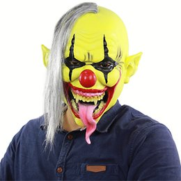 Long Face Mask NZ - Cosplay Halloween Carnival Horror Green Face Clown Mask with wig mask crazy ghost clown Long tongue adult mask