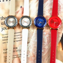 Leather watch design for girLs online shopping - Fashion Brand SWA Special Design Reflecting Mirror Dial Women watch Lady Wristwatch Gift for girls Leather Strap Party Spotlight Sexy