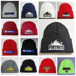 Wholesale beanie embroidery online shopping - Fortnite Battle Knitted Hat Fashion Hip Hop Embroidery Knitted Costume Cap Winter Kids Soft Warm Skuilles Outdoor Beanies styles MMA724