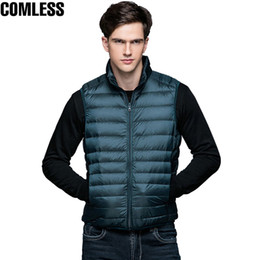 China 2017 New Winter White Duck Down Jacket Men Sleeveless Vests Mens Lightweight Coats Outwear Men's Soft Warm Ultralight Jackets supplier men s sleeveless jackets suppliers