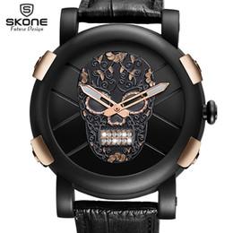 Discount skull pirate watch - Relogio Masculino Dropship Unique SKONE Pirate Skeleton Skull Quartz Men Watches Luxury Gold Waterproof Leather Men Spor