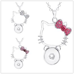 d607f054b Noosa chunks crystal hello kitty cat 18mm snap button necklace for women  ginger snap button jewelry