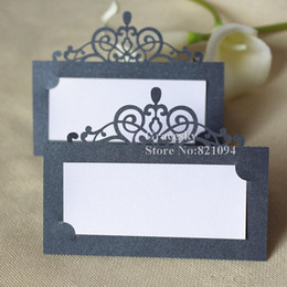 Discount name place card holders - 30pcs free shipping Hot sale Laser cut Party Table Name Card Crown design Place RSVP Cards Wedding Invitation Table hold