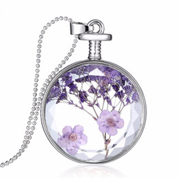 natural metal jewelry UK - Natural Real purple Decorative Dried Flowers Necklace Pendant Dry Flower Plants Jewelry Heart Metal Glass Necklace drop shipping