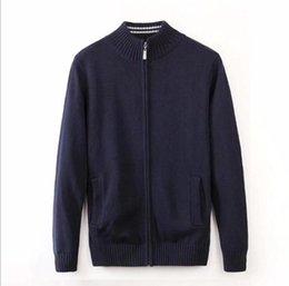 Nuevo Hombre Ocio suéter de lujo marca bordado chaqueta suéter abrigos de manga larga de alta calidad Zip cardigan suéter camisa de color sólido en venta