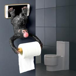 Paper Roll Holders Australia - Monkey tissue box Resin Wall Mounted Paper Towel Dispenser WC Paper Towel Holder Tissue Dispenser Bathroom Accessories