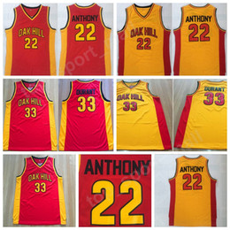 School SportS uniformS online shopping - Oak Hill Kevin Durant Carmelo Anthony Men High School Basketball Jerseys College Team Red Yellow Color Stitched Sport Uniform