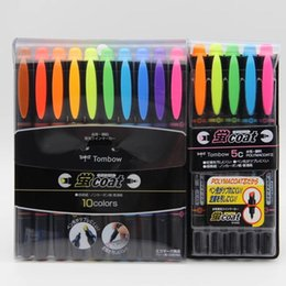 wholesale japanese stationery NZ - Double Head Fluorescent Pen Japanese stationery Marker Pen Set Color Doodling Art For Reading Book Office Accessories TOMBOW
