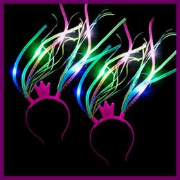 Dress flash online shopping - Led Crown Noodle Headband Flash Party Rave Costume Fancy Dress Light Up Braids Hairband Headbands Christmas Festive Favors AAA811