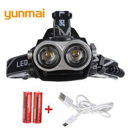 Cree Xm L T6 Battery Australia - RU USA 4000Lumen CREE XM-L T6 LED Headlamp Headlight Caming Hunting Head Light Lamp 3 Modes +2*18650 Battery + EU+Car Charger