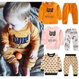 a2092f599 Baby Leisure Pants Suits Kids Printed Letter Floral Beard Clothes DADDY IS  MY SUPER HERO Solid Boys Girls Long Sleeve Designer Autumn 0-3T