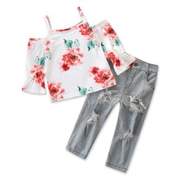cute jeans shorts UK - Fashion Ins new 2018 cute Cotton Girls Outfits floral Tops +jeans 2pcs sets Children Suit Kids Sets baby Girl Clothes kids clothing